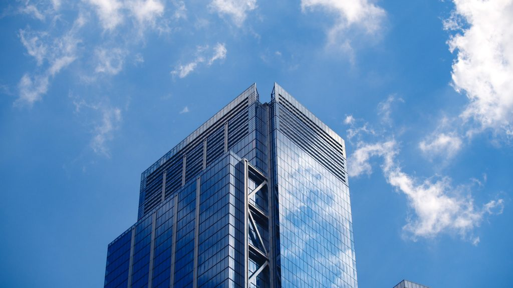 Office building against the sky